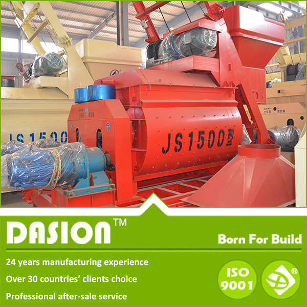 Faster mixing 1 cubic meters double shaft concrete mixer machine with cr-hard cast iron blades