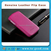 Genuine Leather Flip Cover Mobile Phone Case For Samsung Galaxy S4 (Rose)
