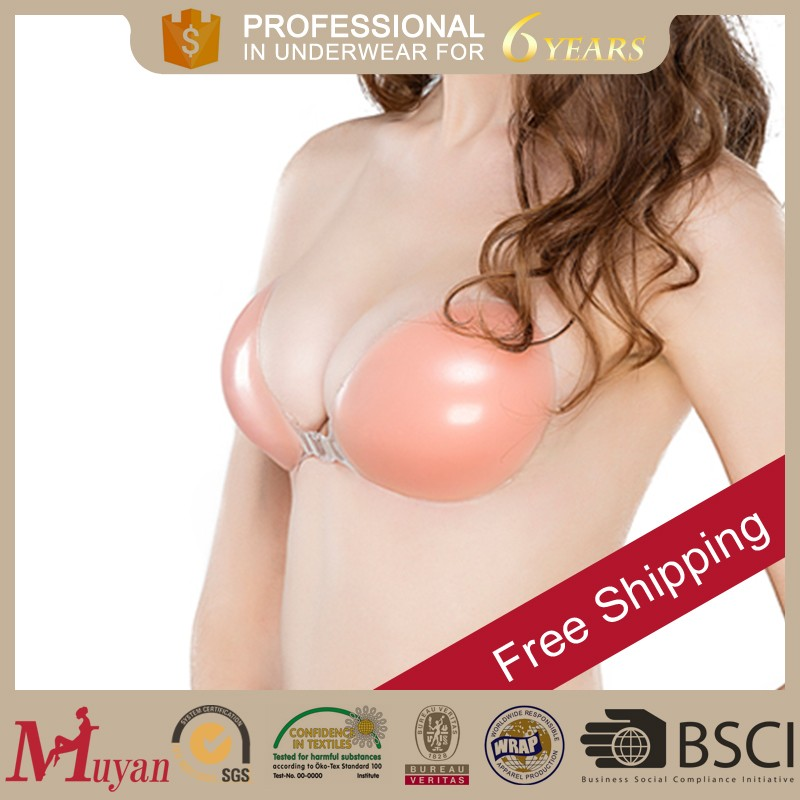 sexy lady invisible silicone bra magic air bra with printing red point bra padding
