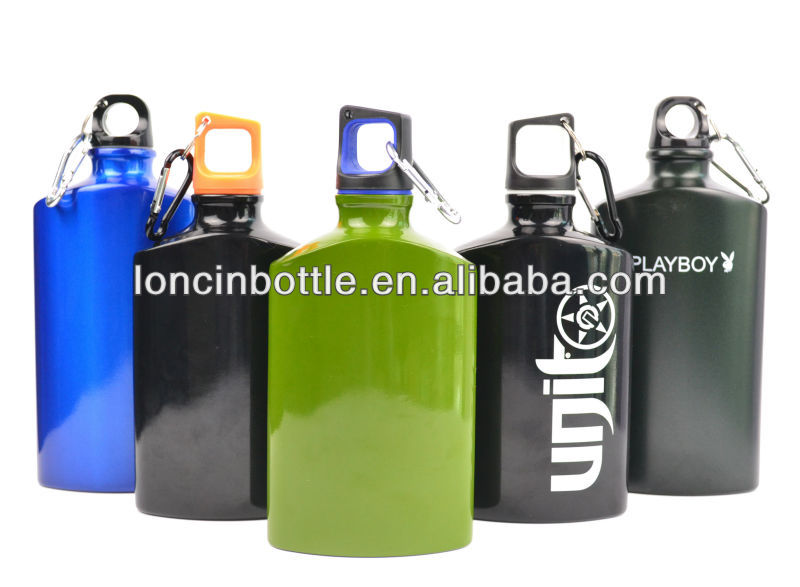 bpa free military aluminum water bottle,flat aluminum sports bottle with carabiner,aluminum canteen