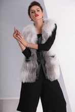 Wholesale price knitted natural fox fur with leather vest