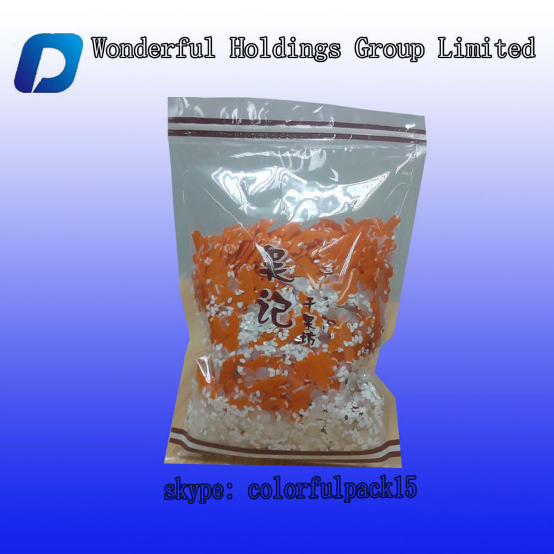 High quality clear dry food/grapes/dry raisins packing with zip lock