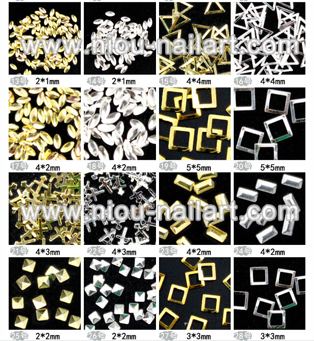 1000pcs/bag Super mini Nail Art Decoration Gold Silver electroplate Half Round Studs