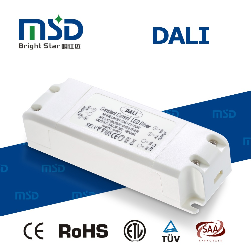 Five years warranty Plastic Housing Dali led driver constant current power 60w supply 1000mA 1800mA 2500mA led tansformer