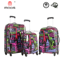 BEAUTIFUL DESIGNE ABS+PC FILM PRINTING HARDSIDE WITH 4 SPINNER TRAVEL LUGGAGE SET