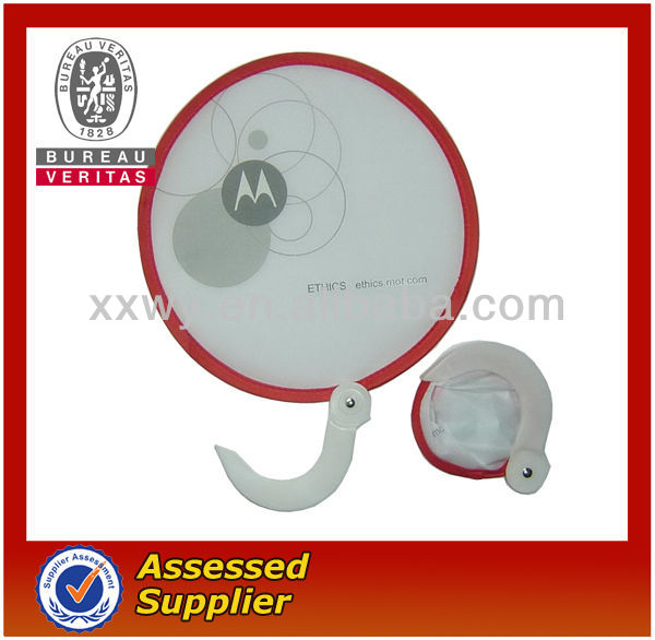 durable round nylon folding fan with a pouch
