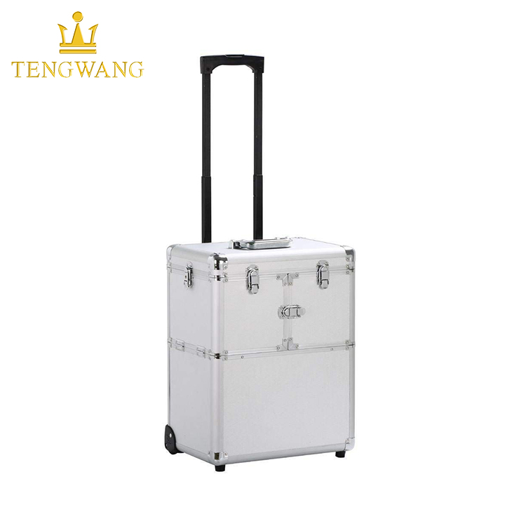 Aluminium Multifunction Mobile Tool Storage Box Cosmetics Hairdresser Beautician Wheeled Chest Carry Case Trolley for Salon
