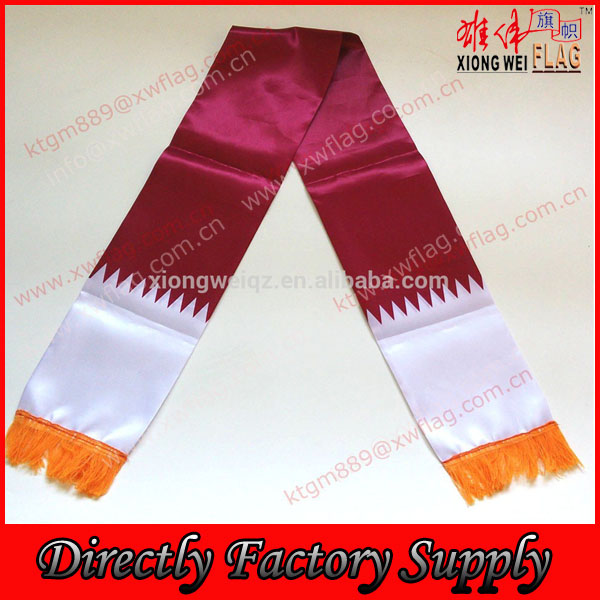Cheap satin polyester national flag scarf of Qatar