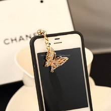 Hot Sales Elegant Diamond Butterfly Custom Fake Phone Anti dust plug