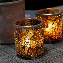 Round shape amber color mosaic glass tealight candle holder/container/jar for decor