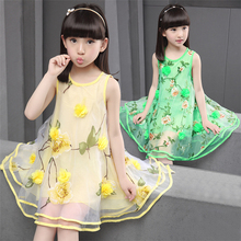2016 summer nice printed 2-9 years flower girl dress