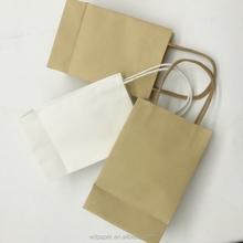China Suppliers Wholesale Custom Cheap 100gsm Brown white Shopping Gift Kraft Paper Bags With Handles 100%Recycled