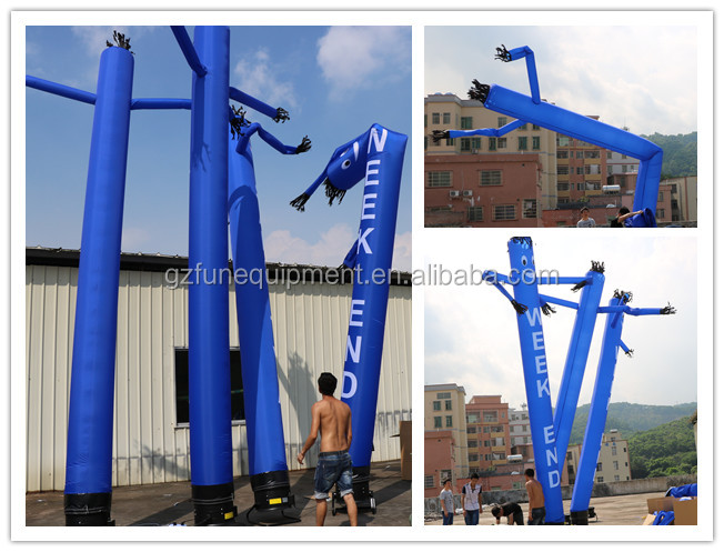 Blue Single Leg Inflatable Air Puppets Dancing Guys With Logo