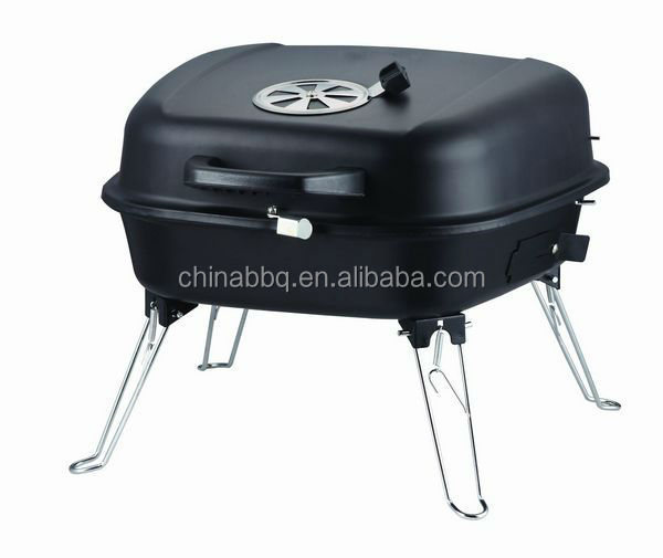 Folding Black Enamel Portable outdoor Charcoal Barbecue