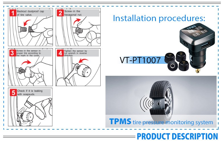 Smart cigarette lighter TPMS with 4 external sensor
