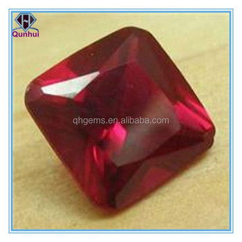Drop, sterling silver and cubic zirconia, d-garnet, faceted square ruby