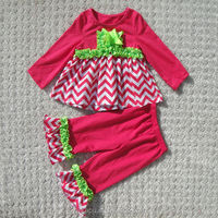 Girls fall boutique outfit,chevron baby clothing sets,girls ruffle pants set