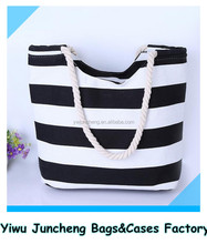 Black White Stripe Canvas Lady Fashion Beach Shopping Bag