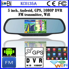 Allwinner A33 5.0 Inch Android Car Rearview Mirror DVR Bulit-in GPS Navigation