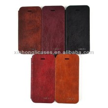 Hot selling wood grain flip leather case cover for iphone 5 5""