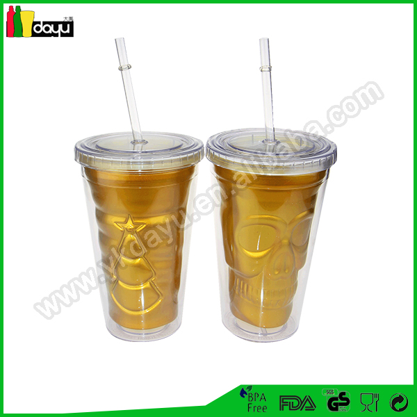 led light up tumbler with straw double insulated plastic cups