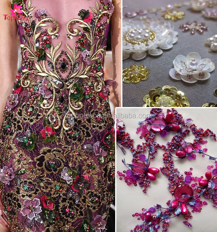 2017 New design fabric tulle wholesale fabric flower hand embroidery designs for dress for evening dress 2016