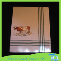 cheap personal cow embroidered kitchen towel
