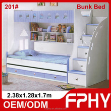 2015 Hot selling FPHY Modern Children Bedroom furniture Pink Blue Red double decker metal bunk bed