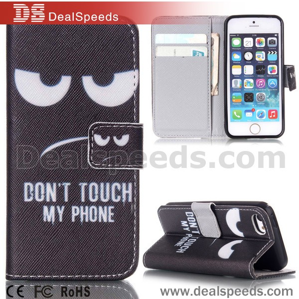 Don't Touch My Phone Leather Shells Case for iPhone 5 /5S with custom pattern Case