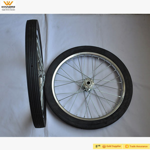 20 inch smooth flat-free tire on steel spoke rim