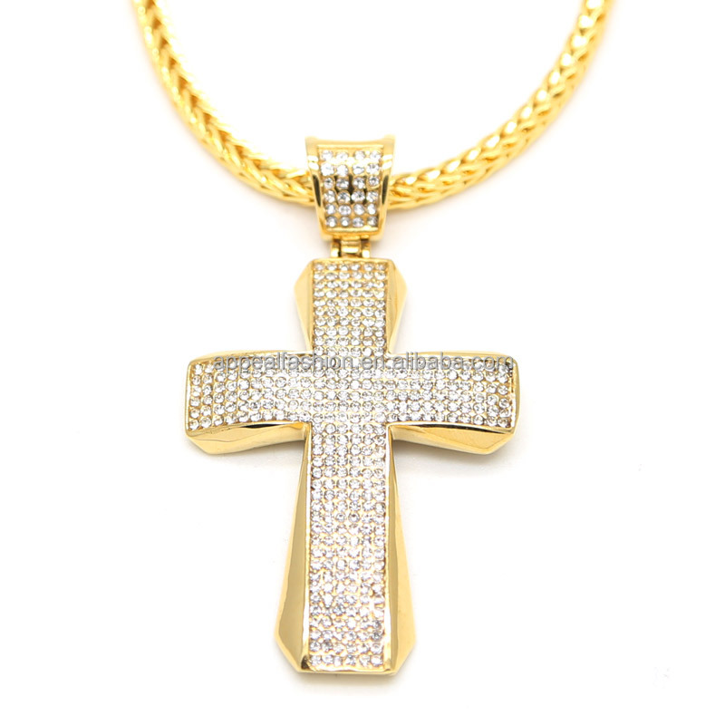 NP155 Mens Hip Hop Gold Iced Out Large Latin Cross Thick New Metal <strong>Pendant</strong> 30 Inch Fox / rope Chain Necklace