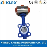 KLQD Brand DN50 Stainless Steel Best Price Pneumatic Wafer Butterfly Valve