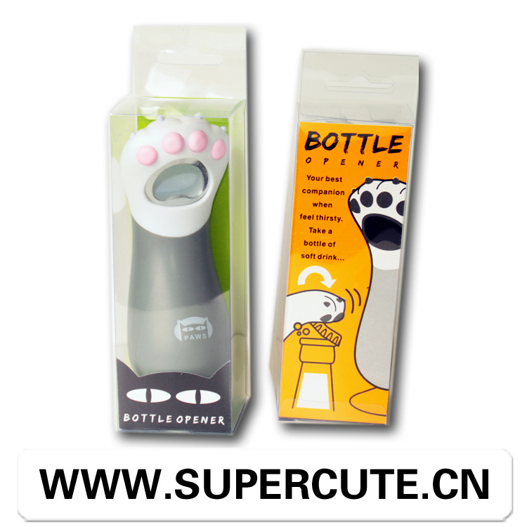 Unique form cans bottles and cartoons opener in cat pad shape