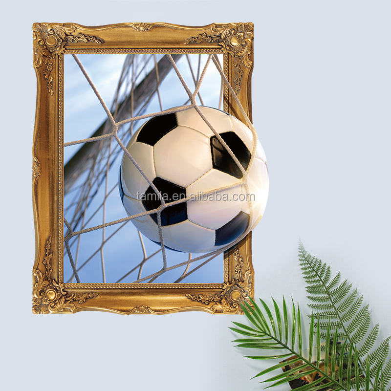 Cool Man Sports Wall Decals Special Design Football Wall Stickers On The Living Room 3D Window Wall Sticker