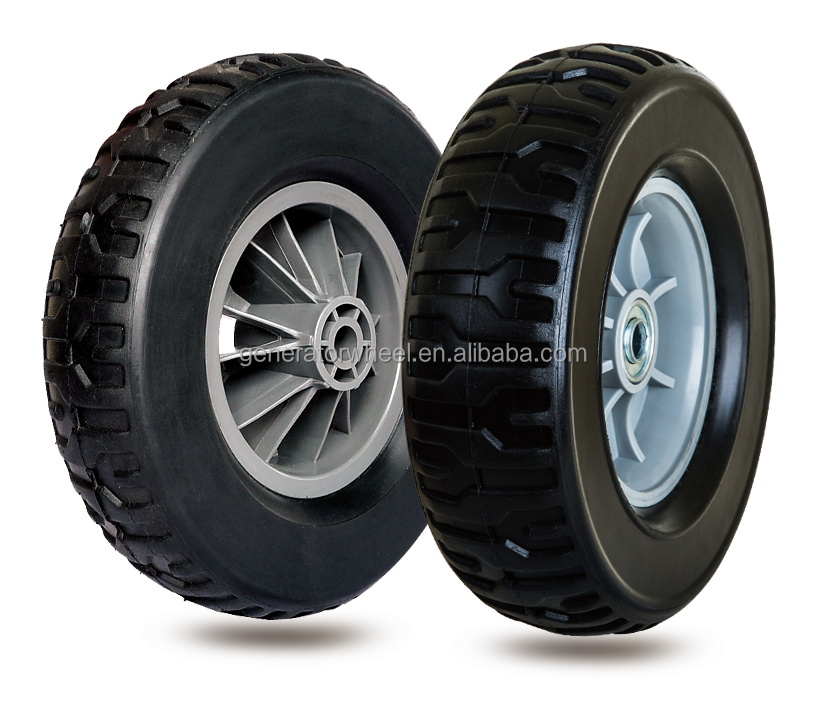10 inch semi-pneumatic rubber wheels for garden caddy, garden trailer, trolley