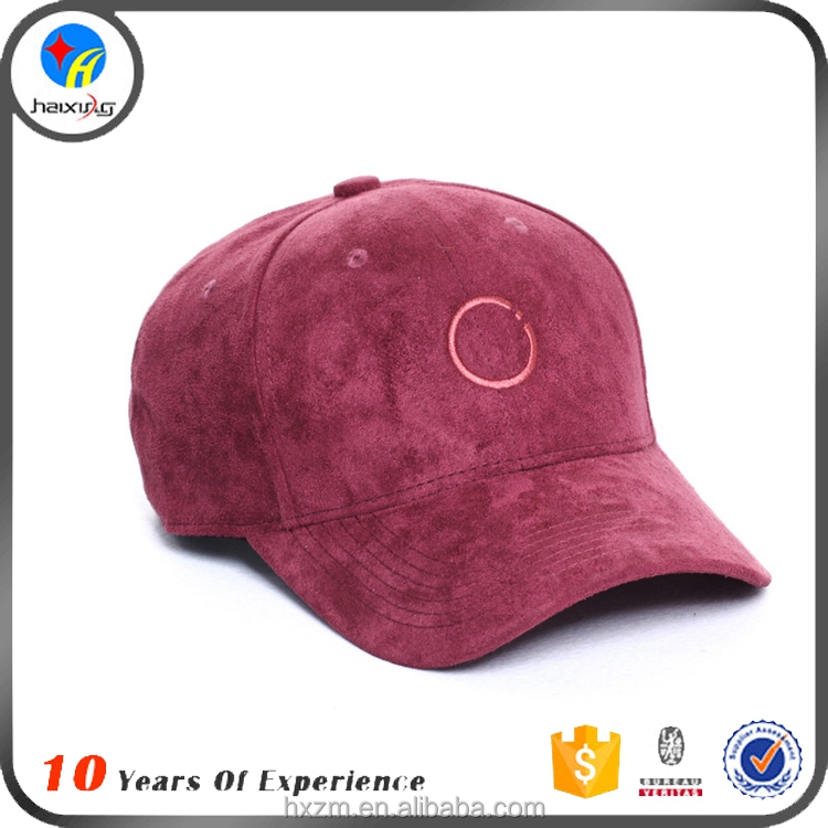 Custom 6 Panel Suede Baseball Cap with Embroidery