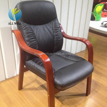 Executive office chair wood bases meeting office armchair without wheels