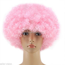 Adult Kids Style Colors Costume Party Clown Disco Football Fans curly afro wigs for black women QPWG-2213
