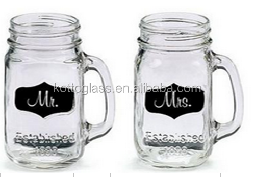 480ml Mason Jar Glasses, Mason Jar Mug Glass Mug Special Set for Mr. & Mrs.