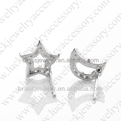 Fashion Silver Plated Moon And Star Imitation Diamond Earring
