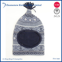 New Design 100% cotton Boy Knitted Jacquard Hood with Tassel Balaclava