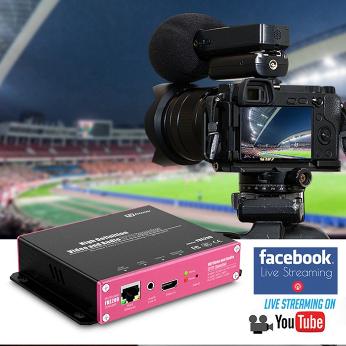 FMUSER H.264 H.265 HD HEVC IPTV Encoder Support HLS M3U8 HTTP RTSP RTMPS UDP ONVIF for Youtube Facebook Wowza Live Streaming