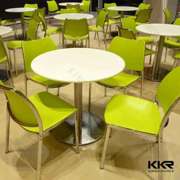 China Hot table acrylic solid surface round coffee shop table and chairs