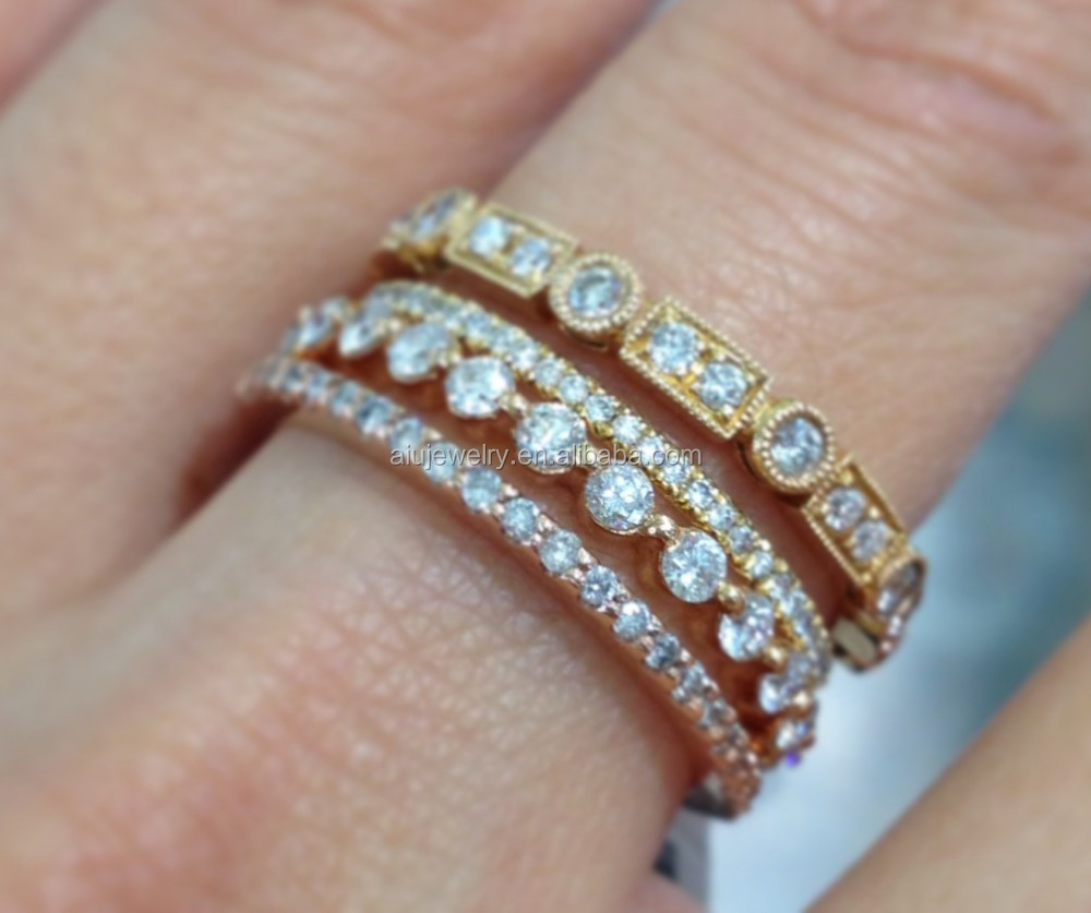 18K Gold Plated eternity stackable ring jewelry