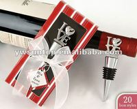 Newest fashion party favors love wine bottle stopper with red gift box