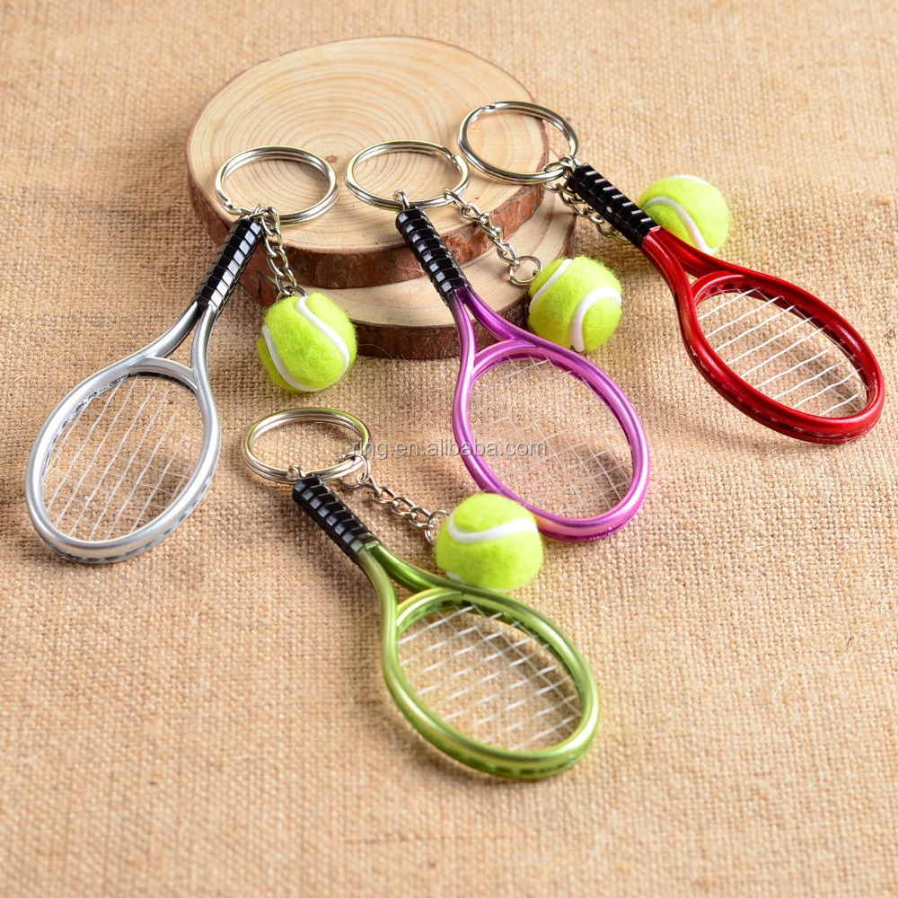 Fashion Charm Colored Mini Tennis Pendant Keyring Cute Sports Metal Keychain for Bag Accessories