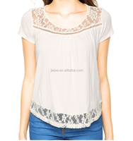 Hot Sales Lace Patch Work Short Sleeve Blouse For Lady