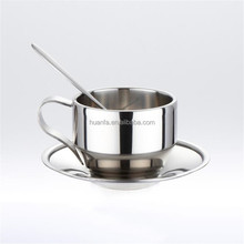 High-grade double wall stainless steel coffee cup set Italian Espresso cup with saucer