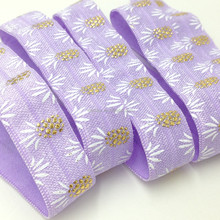 "Good Quality Wholesale FOE 5/8"" Violet Pineapple Print Fold Over Elastic Ribbon for Elastic Hair Band Hair Accessories"