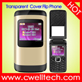 UNIWA F102 1.77 Inch Transparent Screen 800mAh Battery Multi-color Dual SIM Card Flip Mobile Phone